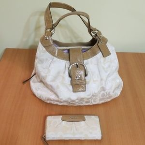 Coach Cream and Tan coloured purse and wallet